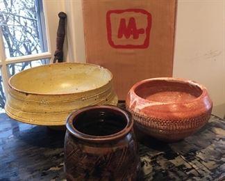 Autographed Warren MacKenzie Book, large Drop Rim Bowl, and 2 other Warren Mackenzie Pottery pieces