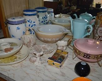 Mixing bowls, old pitchers, casserole dish, old shaving brushes