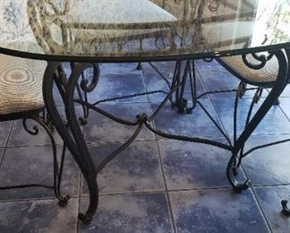 """48"""" glass top dining table w/ 6 chairs"""