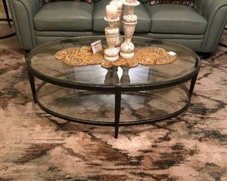 Oval iron and glass 2 tier coffee table