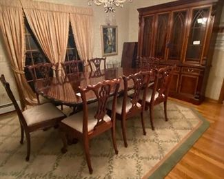 "10 CHIPPENDALE SIDE CHAIRS                                                                                    CUSTOM MADE REPRODUCTION TABLE(82"" X 54"" HAS 3-19""LEAVES AND EXTENDS TO 139""  OR 11""7!)                                                                                      HICKORY CHAIR BREAKFRONT(2 PCS) 72""W x 86""H x 16""D"
