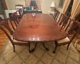 "10 CHIPPENDALE SIDE CHAIRS                                                                                    CUSTOM MADE REPRODUCTION TABLE(82"" X 54"" HAS 3-19""LEAVES AND EXTENDS TO 139""  OR 11""7!)"