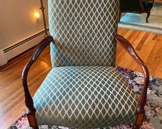 "2 OF THESE STURDY AND STUNNING ""HICKORY CHAIR"" CHAIRS. NEUTRAL GREEN AND BEIGE UPHOLSTERY"