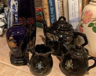 $65~OBO~ ASIAN HAND PAINTED TEA SET 3 PIECES TEA POT, CREAMER AND SUGAR