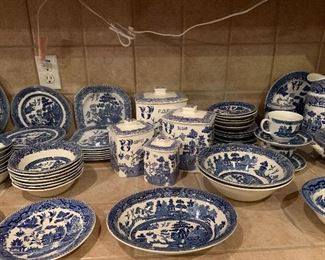 BLUE WILLOW VARIETY OF AMAZING PIECES FROM CANISTERS TO SERVING PIECES.