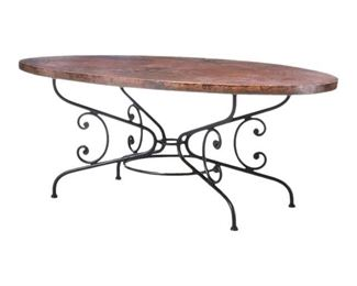 "Arhaus Round 60"" recycled copper dining table with lyon base with (6) Leather Arhaus Chairs"