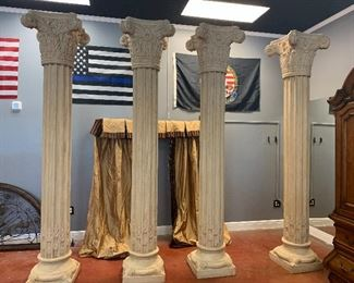 "Stone pillars - 4 110"" H  x 18"" wide at top and bottom"