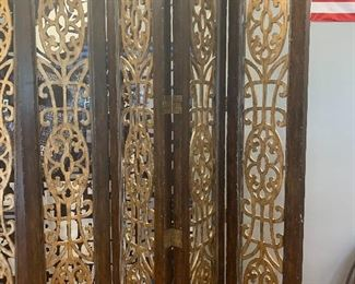 "4 panel wood room dividers  (2 available) Each panel 8' H x 18""   connected with hinges"
