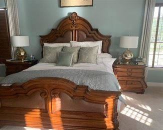 Michael Amini King headboard and footboard with leather inserts  2 night stands
