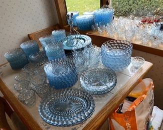 Oh my! Blue Bubble glass as far as the eye can see! Selling $2-4/piece or as a lot for $450 obo, your choice!