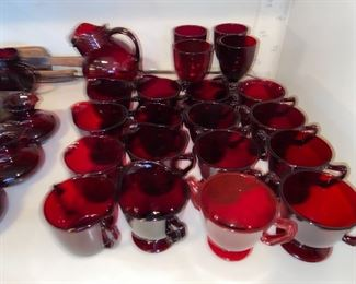 Red Ruby Glass with stickers, by piece $2-5ea or whole lot for $600, oh my!