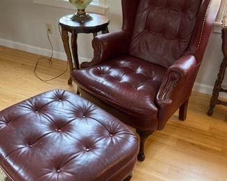 Genuine leather chair & ottoman