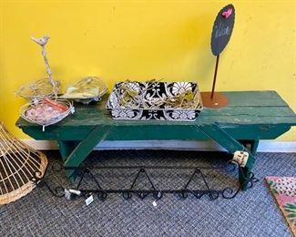 primitive vintage green bench