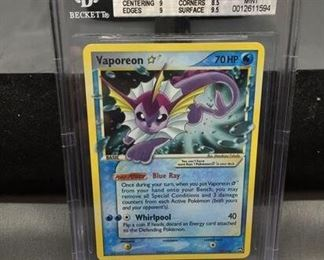 BGS Graded 2007 Pokémon EX Power Keepers VAPOREON Gold Star Holofoil Rare Trading Card - MINT 9