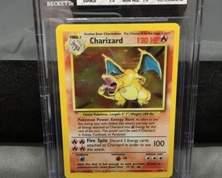 BGS Graded 1999 Pokémon Base Set Unlimited #4 CHARIZARD Holofoil Rare Trading Card - NM+ 7.5