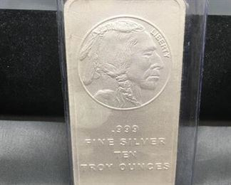 10 Troy Ounces .999 Fine Silver Indian Head Silver Bullion Bar