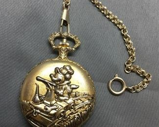Disney Mickey Mouse Gold Tone Pocket Watch from Estate