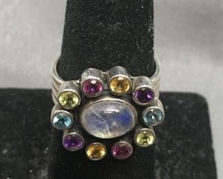 Designer NB Large Gemstone Inlaid Sterling Silver Chunky Ring Size 8