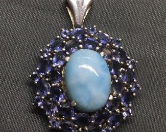 AMAZING Gemstone Lined Flashy Sterling Silver Pendant