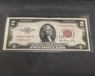 RARE Vintage 1953 United States Red Seal Currency Bill Note $2 Jefferson