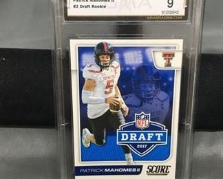 GMA Graded 2017 Score NFL Draft #2 PATRICK MAHOMES II Chiefs ROOKIE Football Card - MINT 9