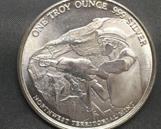 1 Troy Ounce .999 Fine Silver NW Territorial Mint Silver Bullion Round Coin