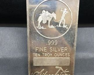 10 Troy Ounce .999 Fine Silver Silver Towne Silver Bullion Bar from Estate Collection