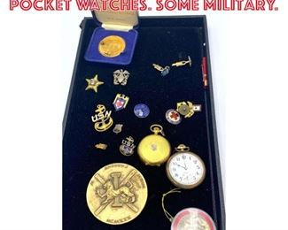 Lot 5 Mixed Lot Medals and Pocket Watches. Some military.