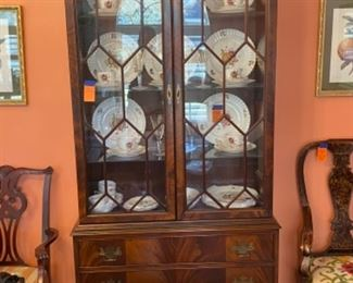 "#6 George III Style Flamed Mahogany China Cabinet, 37""w x 79""h x 15""d  $450"