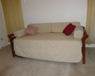 Really nice wood framed daybed/trundle with 2 nice mattresses