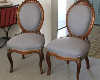 """3.$200.00. Louis XVI  style medallion back side chairs. Carved top rail.  38"""" X 19"""" X 19"""""""