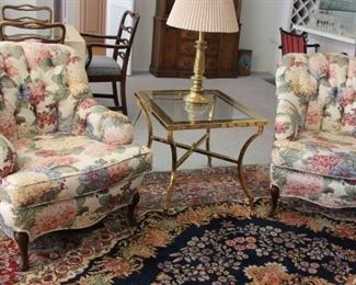 """15.$300.00. California modern style floral button back upholstered chairs.  Pair.  33"""" X 27.5"""" X 29"""""""