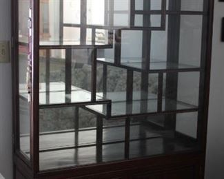 """31.$500.00. Asian inspired  display cabinet.  Hardwood.  Layered  and tiered shelving. 34.5"""" X 40"""" X 15"""""""