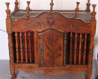"58. $1,500.00.  Panetiere Bread Cabinet.  Walnut.  Early 1800's.  35"" X 33"" X 16"""