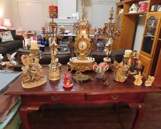 Nice collection of Antique clocks -  Collection of Angels - 2 Drawer Mahogany Desk