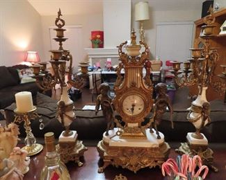3 Piece Antique Clock Set - Cherub Detail on Clock and Matching Candelabras.