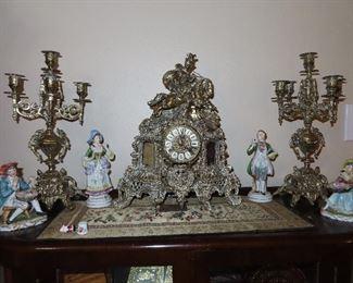 Antique Brass 3 piece Clock Set  with Candelabras
