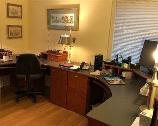 Multi unit desk, office supplies etc