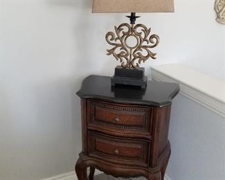 Marble Style Top 2 Drawer Side table  $250.00