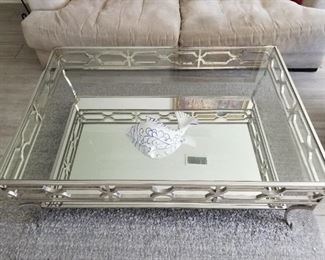 "Z Gallerie Abigail Mirrored Coffee Table  $675.00 50.25"" D x 34.5"" W x 18"" H"