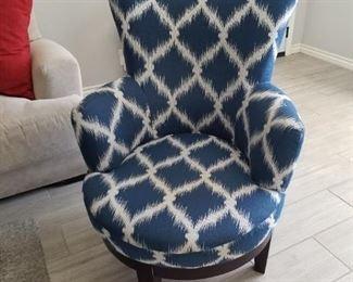 Blue & White Swivel Chair $175.00