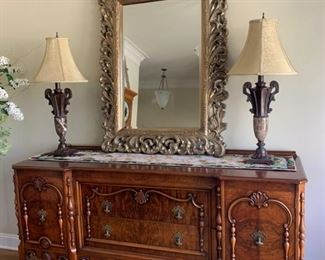 Stunning antique sideboard reproduction - $475.  Set of lamps - $50.  Mirror - $170.  Text 225.316.2544 to purchase NOW prior to the in person sale on December 5th.