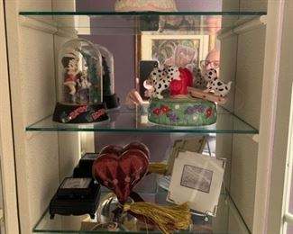 Snow globe top shelf - $10.  Betty Bop Christmas - $10.  Dalmation figurine $5 - Black box third shelf $5, Hard with hassle $4 - Sister plaque $3, Disney Snowglobe $10 - Small snow globe $3.  Text 225.316.2544 to purchase NOW prior to the in person sale on December 5th.