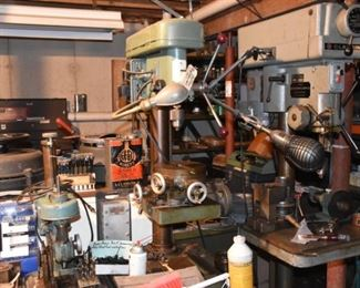Drill presses. High speed, Clausing variable speed.
