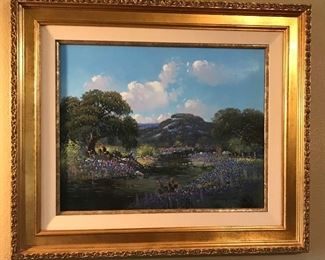 Loretta Strickland, Texas Artist, Art Instructor, Actress, Texas Hill Country Original Signed Oil Painting  16x20