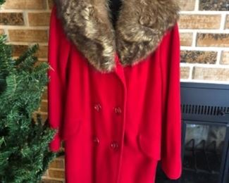 VIntage Red Wool Coat with Fur Trim, Marian Oreck Southdale
