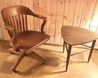 vintage office chair, MCM side table