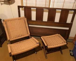vintage woven folding chair and folding stool