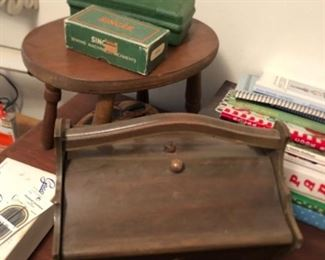 vintage sewing box, singer button holer and accessories