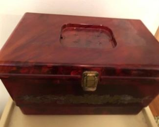 vintage box of buttons and notions